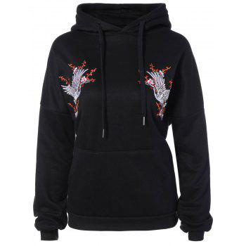 Drawstring Animal Embroidered Hoodie