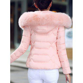 Faux Fur Hooded Padded Jacket - LIGHT PINK 2XL