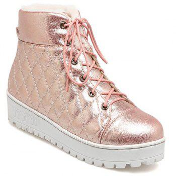 Quilted Platform Lace Up Short Boots
