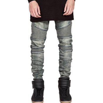 Zipper Fly Slim Fit Moto Jeans - BRONZED BRONZED