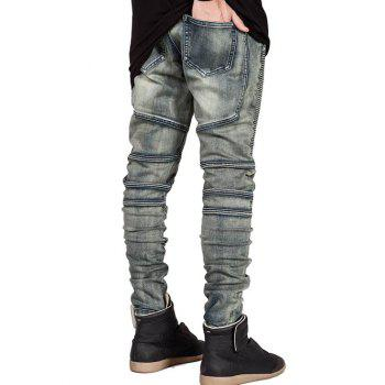 Zipper Fly Slim Fit Moto Jeans - 29 29