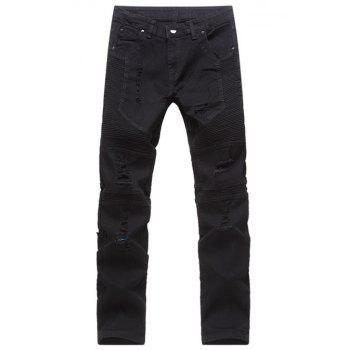 Zipper Fly Slim Fit Distressed Moto Jeans - BLACK BLACK