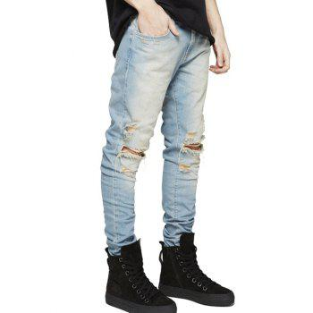 Slim Fit Zip Fly Jeans with Extreme Rips - PHOTO CYAN 30