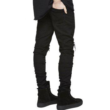 Slim Fit Zip Fly Jeans with Extreme Rips - BLACK 36