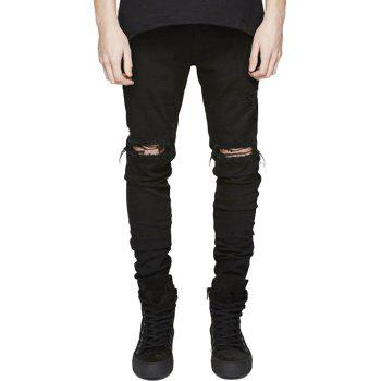 Slim Fit Zip Fly Jeans with Extreme Rips