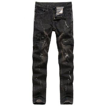 Zip Embellished Paint Splatter Distressed Jeans