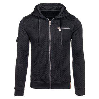Drawstring Zippered Pocket Quilted Hoodie