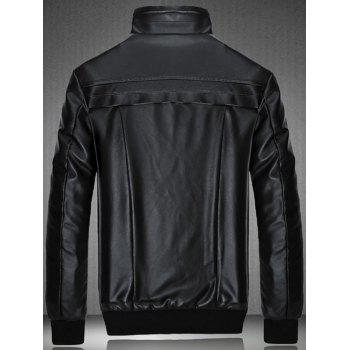 Flocking Spliced Design PU Leather Jacket - BLACK 3XL