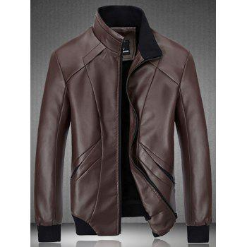 Flocking Spliced Design PU Leather Jacket