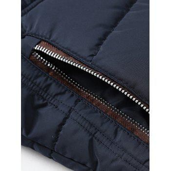 Zip Up Color Block Spliced Design Flocking Quilted Jacket - DEEP BLUE M