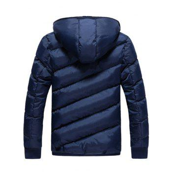 Zip Up Oblique Spliced Design Quilted Jacket - CADETBLUE 2XL