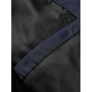 Zip Up Color Block Edging Design Quilted Jacket - BLACK 2XL