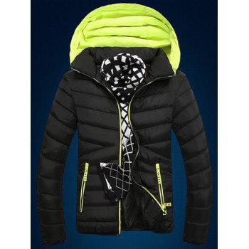 Zip Up Color Block Edging Design Quilted Jacket