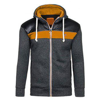 Color Block PU Leather Spliced Hoodie