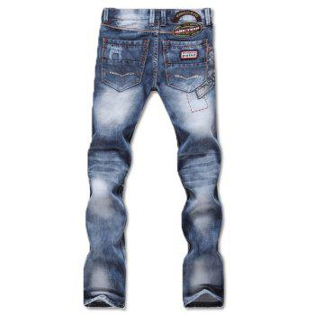 Zipper Fly Patch and Holes Design Bleach Wash Jeans - BLUE 32