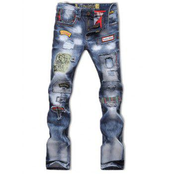 Zipper Fly Patch and Holes Design Bleach Wash Jeans