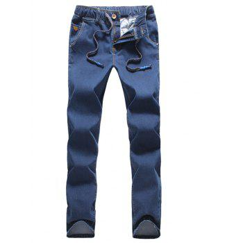 Drawstring Zipper Fly Narrow Feet Jeans