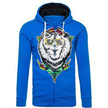 Drawstring Cartoon Lion Print Flocking Hoodie - ROYAL ROYAL
