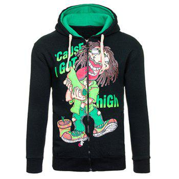 Drawstring Cartoon Figure Print Flocking Hoodie - BLACK AND GREEN BLACK/GREEN