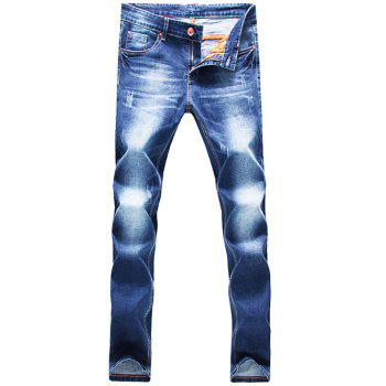 Pocket Scratched Zipper Fly Narrow Feet Jeans