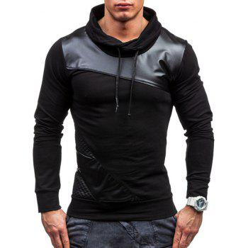 Color Block PU Leather Spliced Design Pullover Sweatshirt - BLACK M