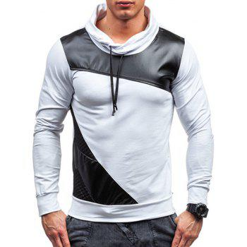 Color Block PU Leather Spliced Design Pullover Sweatshirt