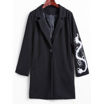 Lapel Collar Dragon Embroidered Cocoon Coat