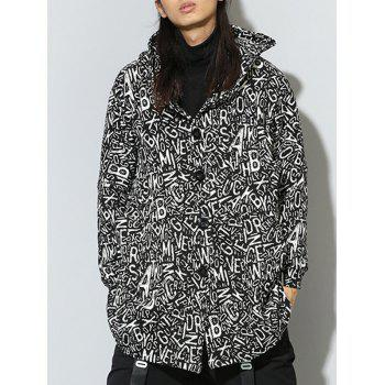Hooded Single Breasted Graphic Print Irregular Design Coat