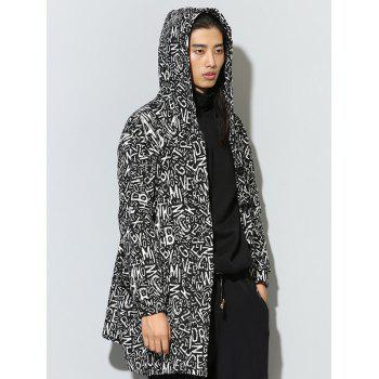 Hooded Single Breasted Graphic Print Irregular Design Coat - BLACK ONE SIZE