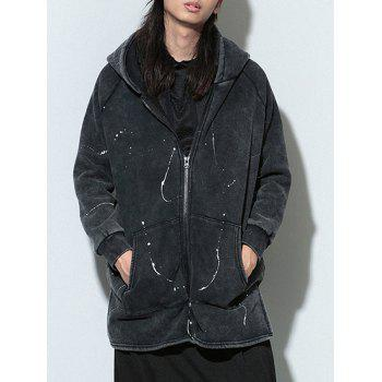 Side Slit Splatter Paint Hooded Lengthen Zip Up Hoodie - ONE SIZE ONE SIZE