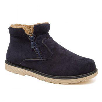 Suede Double Zips Fuzzy Ankle Boots - BLUE 43