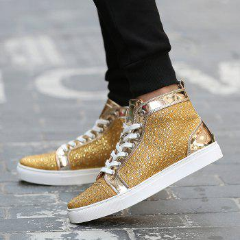 Bottines en strass à lacets - Or 42