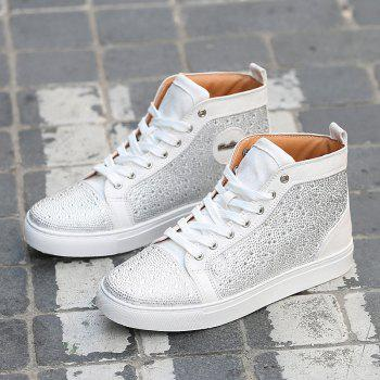 Bottines en strass à lacets - Blanc 41