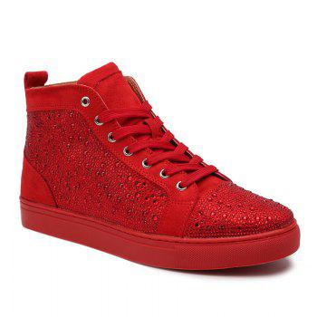 Lace Up Rhinestone Short Boots - RED RED