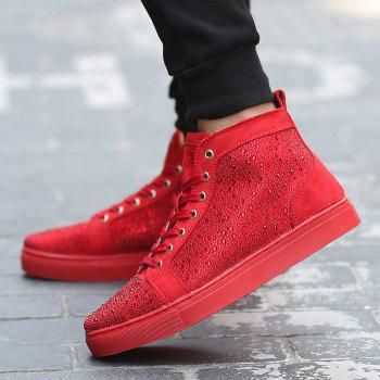 Bottines en strass à lacets - Rouge 40