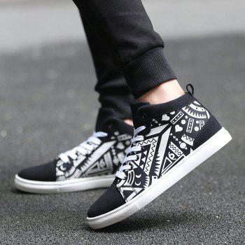 Suede Spliced Geometric Print Lace Up Boots - WHITE/BLACK 40