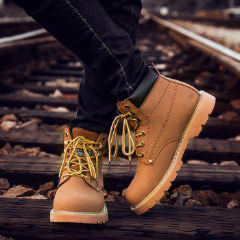 Eyelet Lace Up Stitching Work Boots - LIGHT BROWN LIGHT BROWN