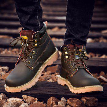 Eyelet Lace Up Stitching Work Boots - DEEP BROWN DEEP BROWN