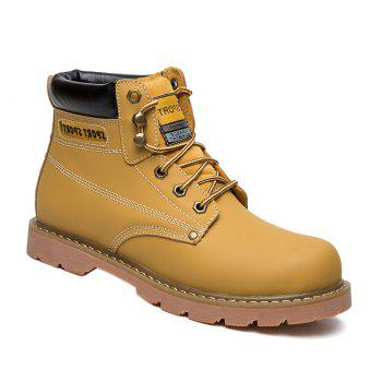 Eyelet Lace Up Stitching Work Boots - YELLOW YELLOW