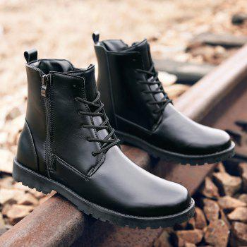 Casual Lace Up PU Leather Combat Boots - BLACK BLACK