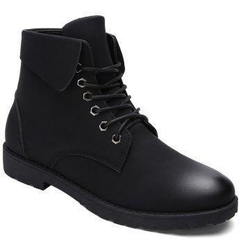 Fold Down Eyelet Lace Up Combat Boots - BLACK 42