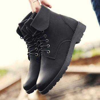 Fold Down Eyelet Lace Up Combat Boots - BLACK BLACK