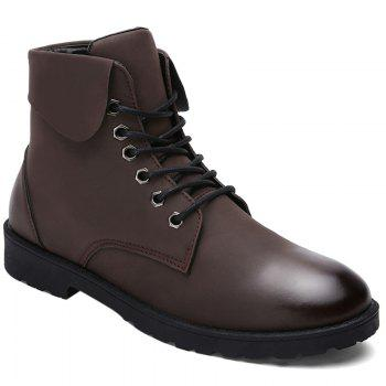 Fold Down Eyelet Lace Up Combat Boots