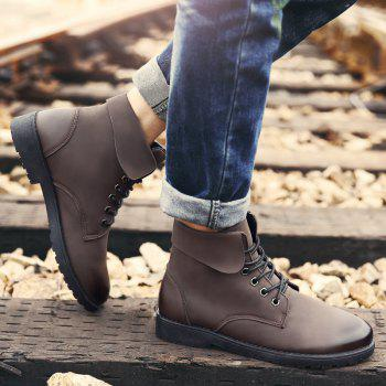 Fold Down Eyelet Lace Up Combat Boots - BROWN BROWN
