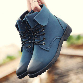 Fold Down Eyelet Lace Up Combat Boots - BLUE 41