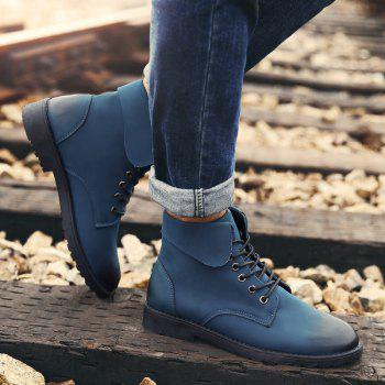 Fold Down Eyelet Lace Up Combat Boots - BLUE BLUE