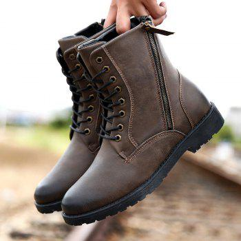 Side Zip Eyelet PU Leather Combat Boots - 40 40