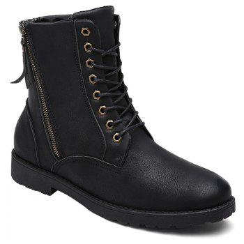 Side Zip Eyelet PU Leather Combat Boots - BLACK BLACK