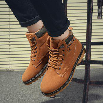 Suede Eyelet Lace Up Short Boots - 41 41