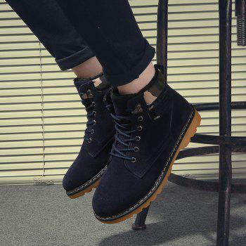 Suede Eyelet Lace Up Short Boots - BLUE 42